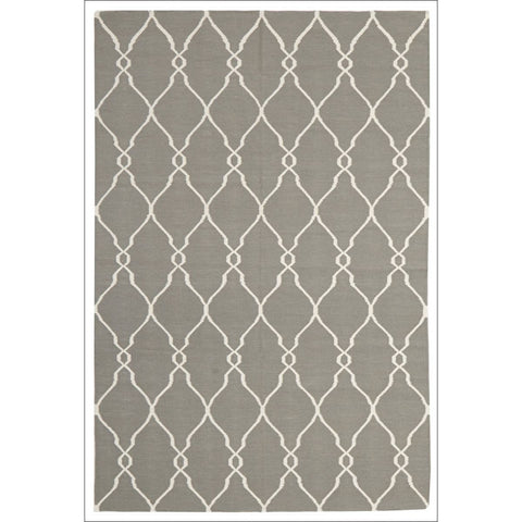 Delica Flat Weave Double Sided Wool Rug Grey - Rugs Of Beauty