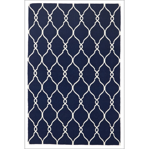 Delica Flat Weave Rug Navy - Rugs Of Beauty