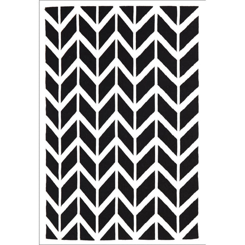 Chevron Flat Weave Rug Black - Rugs Of Beauty - 1
