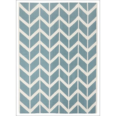 Hand Knotted Chevron Flatweave Wool Rug Blue - Rugs Of Beauty