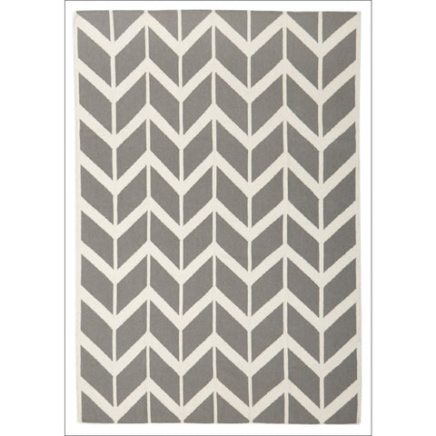 Hand Knotted Chevron Flat Weave Wool Rug Grey - Rugs Of Beauty