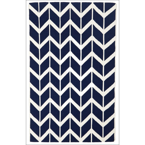 Hand Knotted Chevron Flat Weave Wool Rug Navy - Rugs Of Beauty