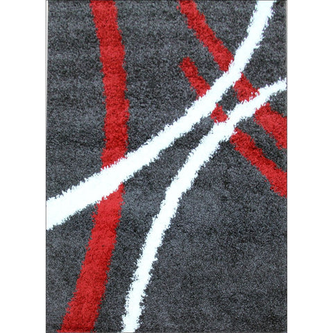 Modern Shag Rug Charcoal Red White - Rugs Of Beauty