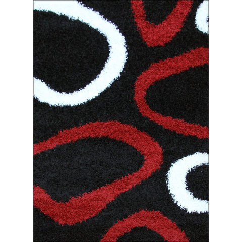 Modern Shag Rug Hoops Black Red White - Rugs Of Beauty