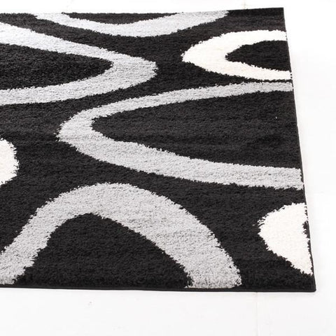 Modern Shag Rug Hoops Black Grey - Rugs Of Beauty
