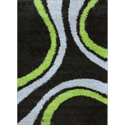 Stylish Curves Shag Rug Black Green - Rugs Of Beauty