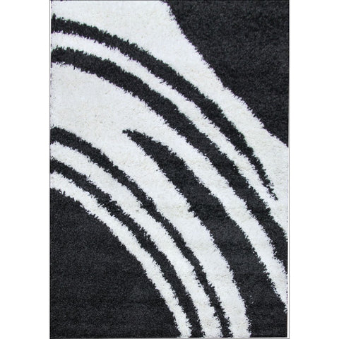 Modern Shag Rug Strokes Charcoal White - Rugs Of Beauty
