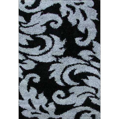 Damask Style Print Shag Rug Black Grey - Rugs Of Beauty