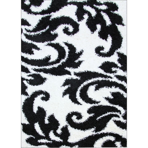 Damask Style Print Shag Rug Black White - Rugs Of Beauty