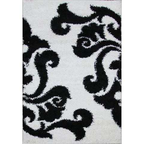 Damask Pattern Shag Rug White Black - Rugs Of Beauty