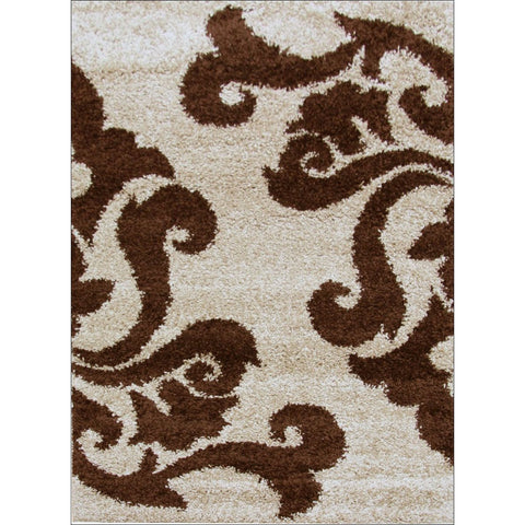 Damask Pattern Shag Rug Beige Brown - Rugs Of Beauty