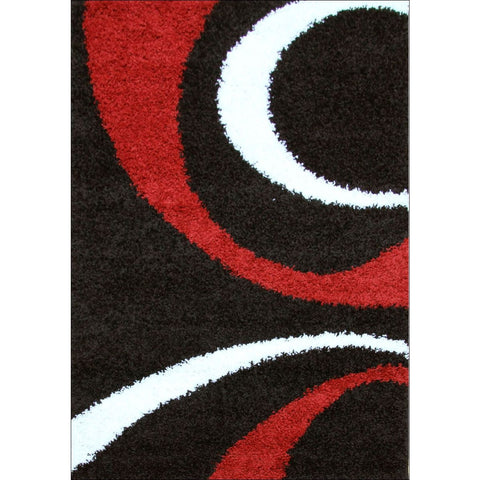 Urban Curves Shag Rug Black Red - Rugs Of Beauty - 1