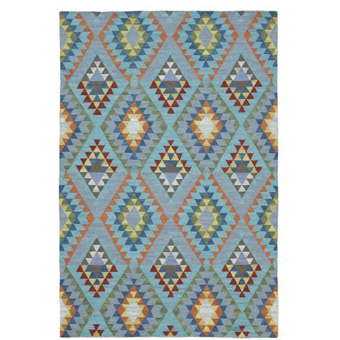 Baiyin Blue Geometric Patterned Flat Weave Wool Rug - Rugs Of Beauty