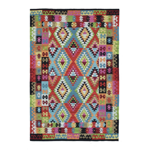 Baiyin Multi Colour with Border Geometric Patterned Flat Weave Wool Rug - Rugs Of Beauty