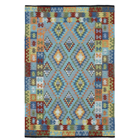 Baiyin Blue with Border Geometric Patterned Flat Weave Wool Rug - Rugs Of Beauty