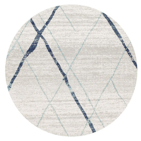 Kemi 1152 Blue Modern Tribal Boho Round Rug - Rugs Of Beauty - 1