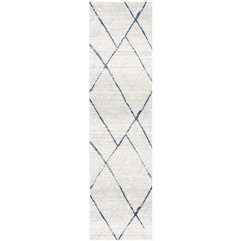 Kemi 1152 Blue Modern Tribal Boho Runner Rug - Rugs Of Beauty - 1