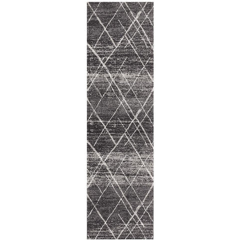 Kemi 1152 Charcoal Grey Modern Tribal Boho Runner Rug - Rugs Of Beauty - 1