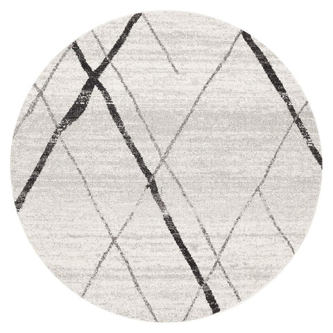 Kemi 1152 Grey Modern Tribal Boho Round Rug - Rugs Of Beauty - 1
