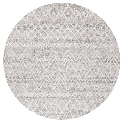 Kemi 1153 Grey Modern Tribal Boho Round Rug - Rugs Of Beauty - 1