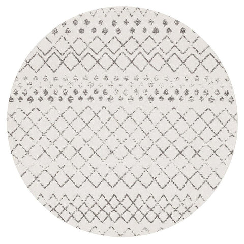 Kemi 1154 White Modern Tribal Boho Round Rug - Rugs Of Beauty - 1