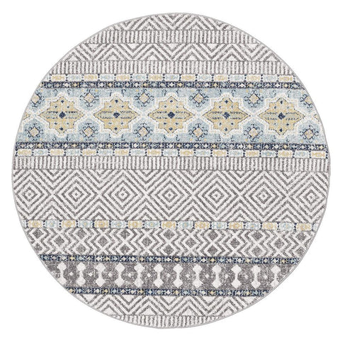 Kemi 1155 Blue Modern Tribal Boho Round Rug - Rugs Of Beauty - 1