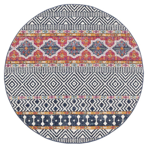 Kemi 1155 Multi Coloured Modern Tribal Boho Round Rug - Rugs Of Beauty - 1