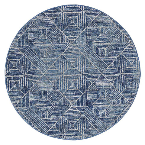 Kemi 1157 Navy Blue Modern Tribal Boho Round Rug - Rugs Of Beauty - 1
