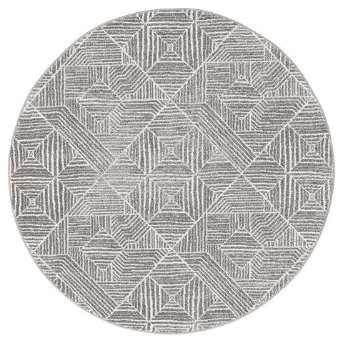 Kemi 1157 Silver Grey Modern Tribal Boho Round Rug - Rugs Of Beauty - 1
