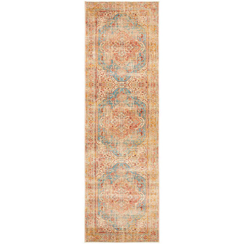 Minya 1644 Blue Multi Colour Transitional Runner Rug - Rugs Of Beauty - 1