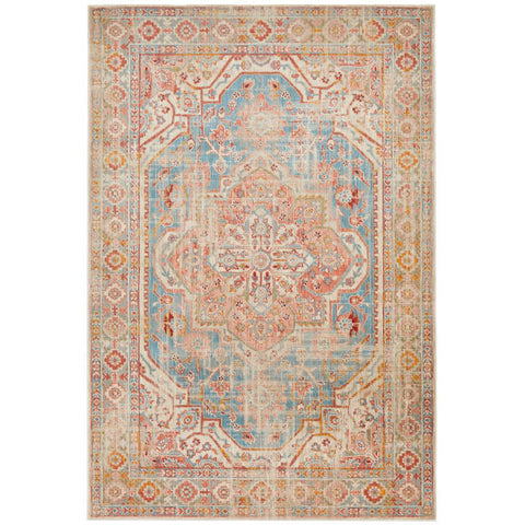 Minya 1644 Blue Multi Colour Transitional Rug - Rugs Of Beauty - 1