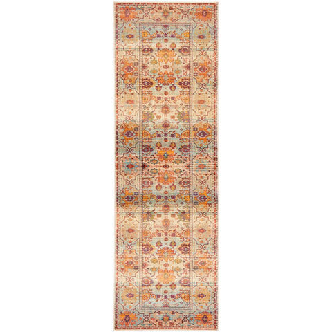 Minya 1646 Multi Colour Transitional Runner Rug - Rugs Of Beauty - 1