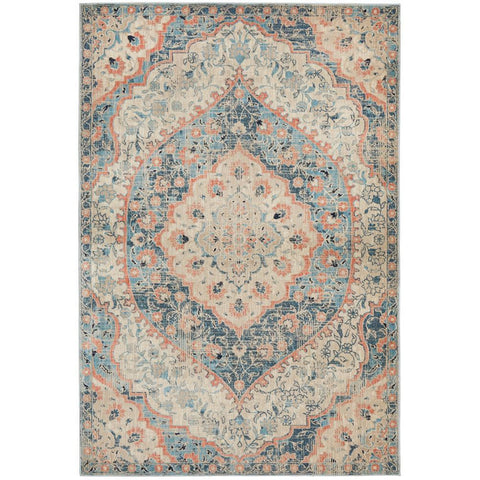 Minya 1648 Navy Blue Multi Colour Transitional Rug - Rugs Of Beauty - 1