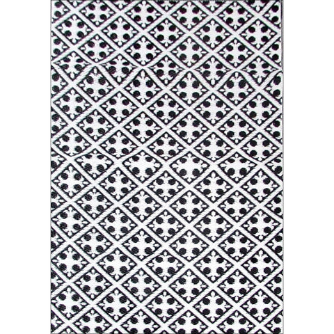 Alfresco Indoor/Outdoor Rugs - Chatai 100025-Black/White - Rugs Of Beauty - 1