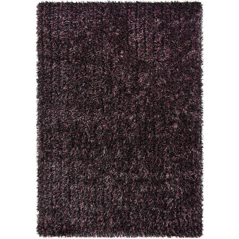 Barcelona Soft Shag Rug Black Purple Grey - Rugs Of Beauty - 1