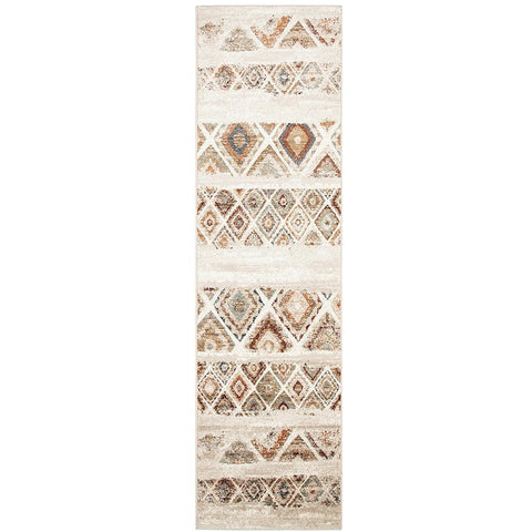 Caliente 320 Rust Bone Multi Coloured Diamond Patterned Traditional Runner Rug - Rugs Of Beauty - 1