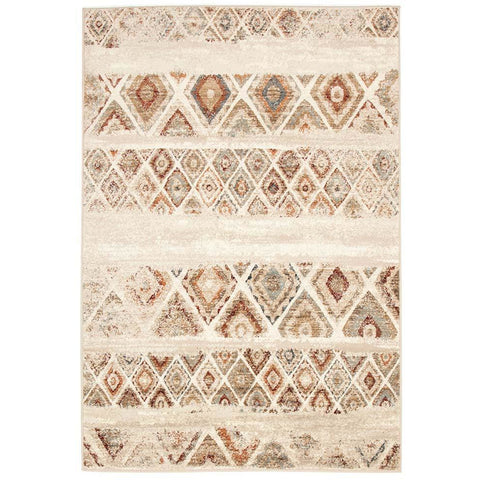 Caliente 320 Rust Bone Multi Coloured Diamond Patterned Traditional Rug - Rugs Of Beauty - 1