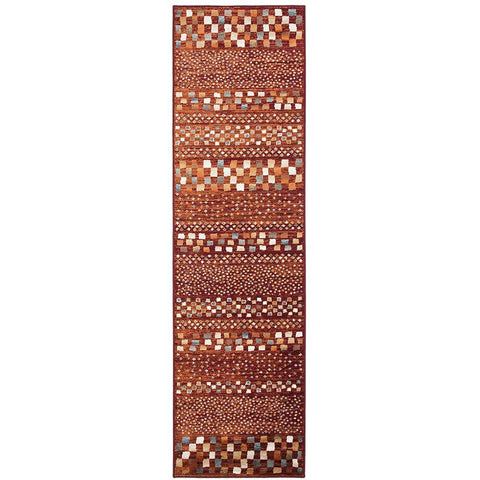 Caliente 322 Earth Red Rust Multi Coloured Patterned Traditional Runner Rug - Rugs Of Beauty - 1