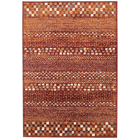 Caliente 322 Earth Red Rust Multi Coloured Patterned Traditional Rug - Rugs Of Beauty - 1