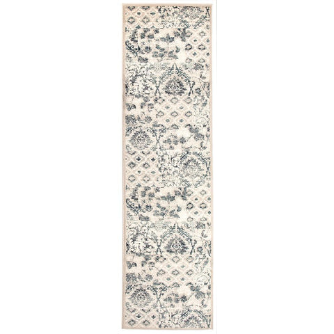 Caliente 323 Blue Bone Multi Coloured Patterned Traditional Runner Rug - Rugs Of Beauty - 1