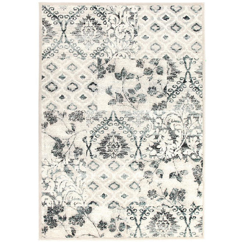 Caliente 323 Blue Bone Multi Coloured Patterned Traditional Rug - Rugs Of Beauty - 1
