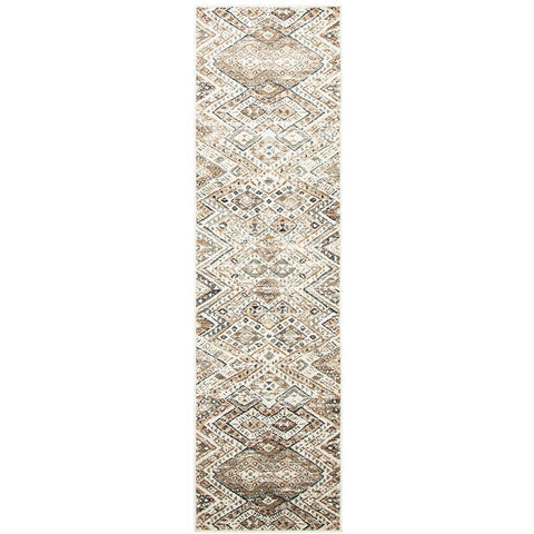 Caliente 324 Beige Earth Multi Coloured Patterned Traditional Runner Rug - Rugs Of Beauty - 1