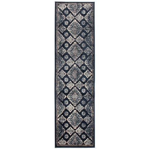 Caliente 325 Navy Blue Multi Coloured Patterned Traditional Runner Rug - Rugs Of Beauty - 1
