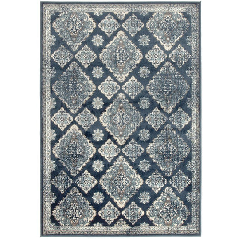 Caliente 325 Navy Blue Multi Coloured Patterned Traditional Rug - Rugs Of Beauty - 1