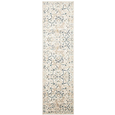 Caliente 327 Bone Multi Coloured Patterned Faded Traditional Runner Rug - Rugs Of Beauty - 1