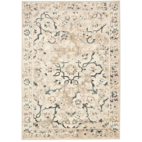 Caliente 327 Bone Multi Coloured Patterned Faded Traditional Rug - Rugs Of Beauty - 1