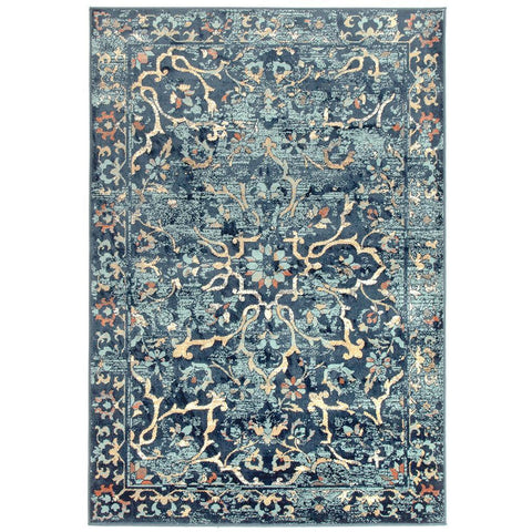 Caliente 328 Navy Blue Multi Coloured Patterned Faded Traditional Rug - Rugs Of Beauty - 1