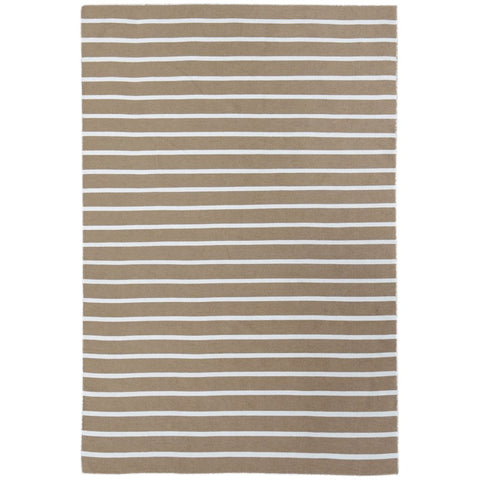 Baris Beige and White Striped Flat Weave Rug - Rugs Of Beauty