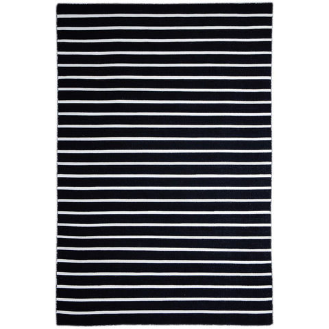 Baris Black and White Striped Flat Weave Rug - Rugs Of Beauty