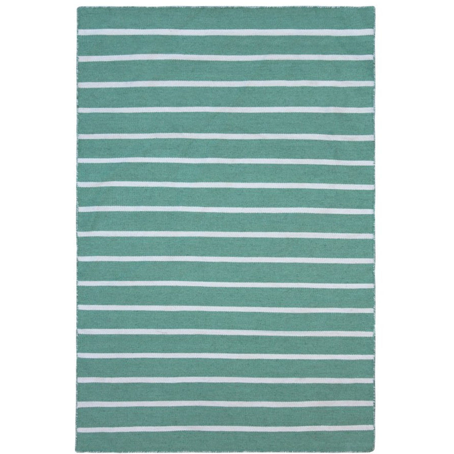 Green Flat Weave Rug: Baris Green And White Striped Flat Weave Rug